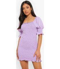 petite geplooide mini jurk met korte mouwen, lilac