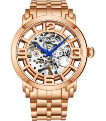 stuhrling men's rose gold stainless steel bracelet watch 44mm