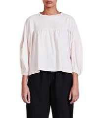 apiece apart vida linen blend knit top, size x-large in cream at nordstrom