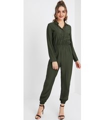 yoins army green front button long sleeves drawstring waist jumpsuit