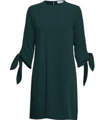 smooth twill tie cuf jurk knielengte groen calvin klein