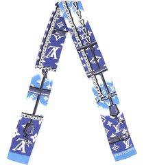 louis vuitton escale confidential bandeau scarf blue multicolor silk blue/multicolor sz: