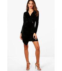 tall fluwelen holly blazer jurk, zwart