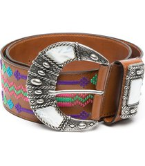 etro abstract-embroidered belt - brown