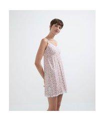 camisola em viscolycra estampa floral com renda | lov | rosa | gg