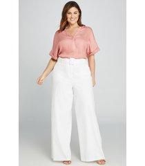 lane bryant women's belted wide leg pant 16l white
