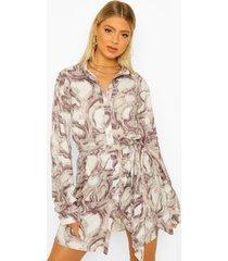 tall marmerprint blouse jurk, blush
