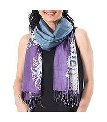 batik silk scarf, 'lanna blossom' (thailand)