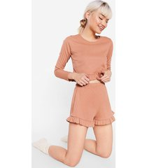 womens better than sets petite jersey pajama set - biscuit