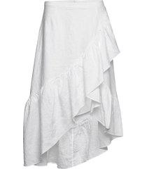 wendy linen solid knälång kjol vit line of oslo
