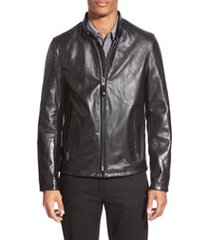 men's schott nyc cafe racer waxy cowhide leather jacket, size large - black