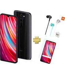 celular xiaomi redmi note 8 pro 128gb 6gb ram negro + vidrio + audífonos
