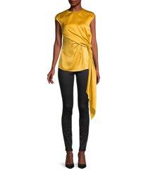 oscar de la renta women's satin side-knot blouse - cream - size 6