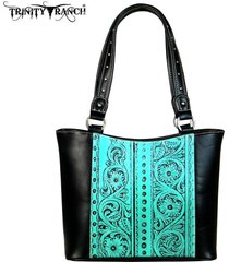 new montana west trinity ranch floral tooled leather tote handbag ~2 colors