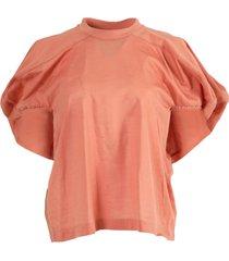 puff-sleeved crewneck blouse