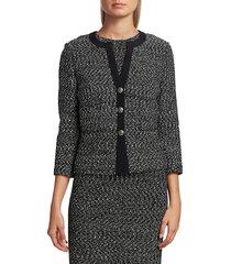 st. john women's silk-trimmed tweed knit jacket - caviar ecru - size 14