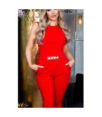 sexy capri-driekwarts jumpsuit met gouden gesp rood