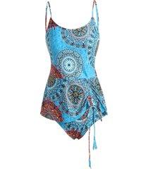 aztec bohemian print cinched tie tankini swimwear