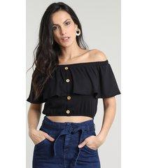 blusa feminina ciganinha cropped canelada com botões manga curta preta