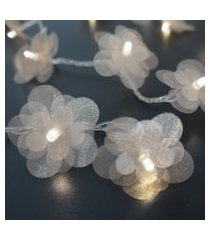 cordáo de luz - luz de fada crie casa organza flower champagne