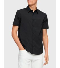 camisa calvin klein mc negro - calce regular