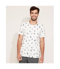 camiseta masculina estampada de caveiras manga curta gola careca branca