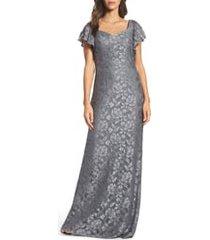 women's la femme flutter sleeve lace column gown