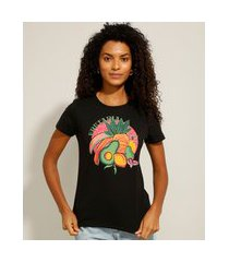 """camiseta de algodão frutaria"""" manga curta decote redondo preto"""""""