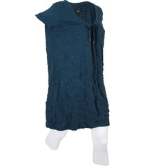 tunica lunga effetto stropicciato + leggings 3/4 (set 2 pezzi) (blu) - bpc bonprix collection