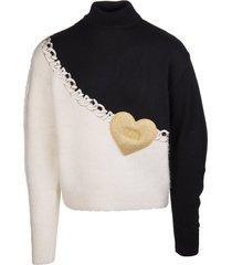 gcds man black and white heart sweater
