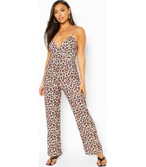leopard print tie back strappy jumpsuit, orange