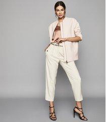 reiss elle - wool longline bomber jacket in powder pink, womens, size 10