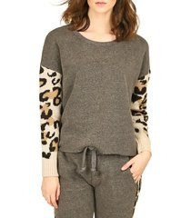 vintage havana women's animal-print cotton-blend sweater - leopard print grey - size m