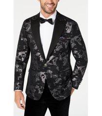 tallia men's slim-fit black/silver jacquard dinner jacket