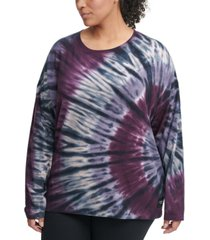 calvin klein performance plus size tie-dyed sweatshirt