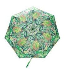 white mountaineering guarda-chuva com estampa botânica - verde