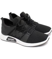 tenis hompre sport negros color negro, talla 42