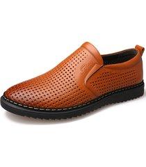 scarpe in pelle stile intrecciato uomo scava fuori scarpe casual antiscivolo traspiranti