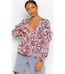 bloemenprint wikkel blouse met ruches, black