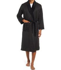 men's majestic international fleece lined robe, size one size - black