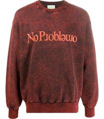 aries slogan long-sleeve sweatshirt - red