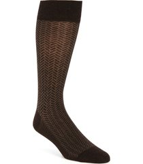 men's cole haan geometric dress socks, size one size - brown