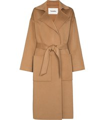 nanushka alamo belted midi coat - brown