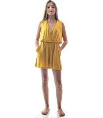macaquinho amarelo com detalhe tranã§ado - amarelo - feminino - poliã©ster - dafiti