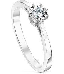 anillo les classiques rosetón pequeño de oro blanco y diamantes tous