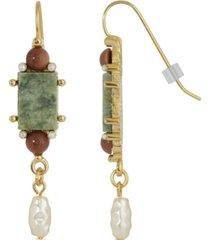 2028 gold-tone semi precious aventurine rectangle imitation pearl drop earrings