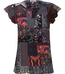 blusa estampado silueta hojas color negro, talla 10