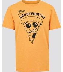 t-shirt i bomull med tryck - orange
