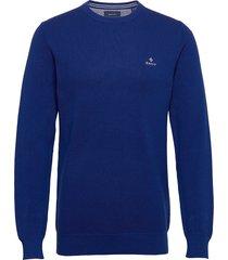 cotton pique c-neck stickad tröja m. rund krage blå gant