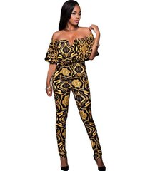 new ladies black yellow tapestry print belted off shoulder jumpsuit stage dance